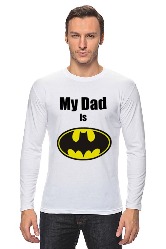 Лонгслив Printio My dad is batman сумка printio my dad is batman