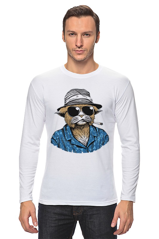 Лонгслив Printio Hunter s. thompson cat cat s cradle