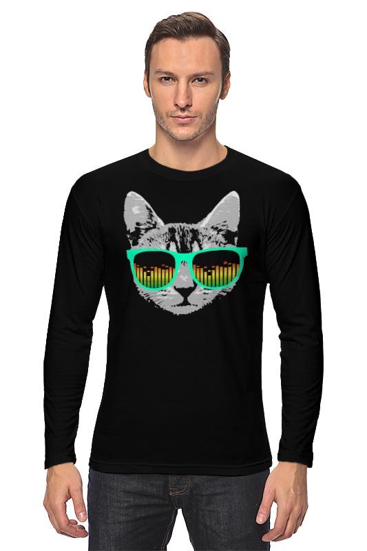 Лонгслив Printio Кот в очкках кот в мешке время играть