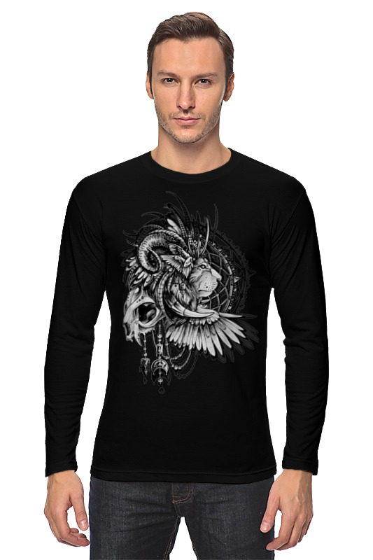 Лонгслив Printio Black-white lion лонгслив independent shred raglan 3 4 white black