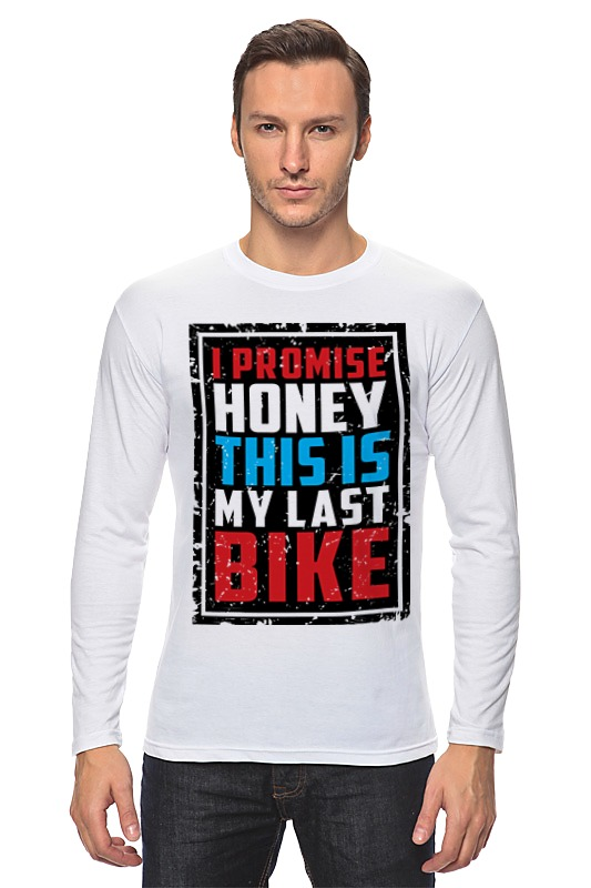 где купить Лонгслив Printio I promise honey this is my last bike (врунишка) дешево