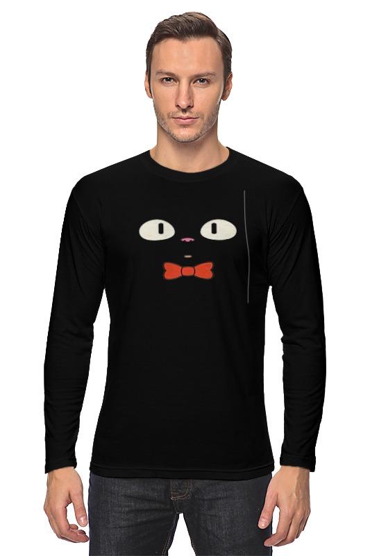 Лонгслив Printio Чёрный кот 9tong чёрный цвет