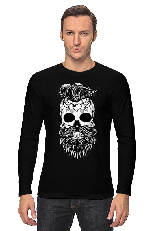 Лонгслив Printio Hipster skull skull off the shoulder tunic sweater