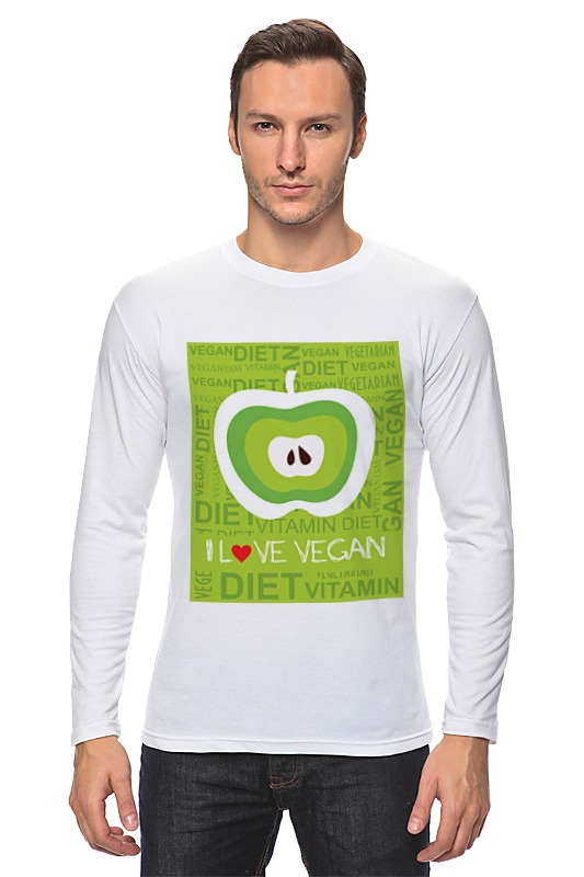 Лонгслив Printio I love vegan the vegan cheat sheet