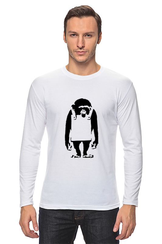 Лонгслив Printio Шимпанзе  рекламным щитом