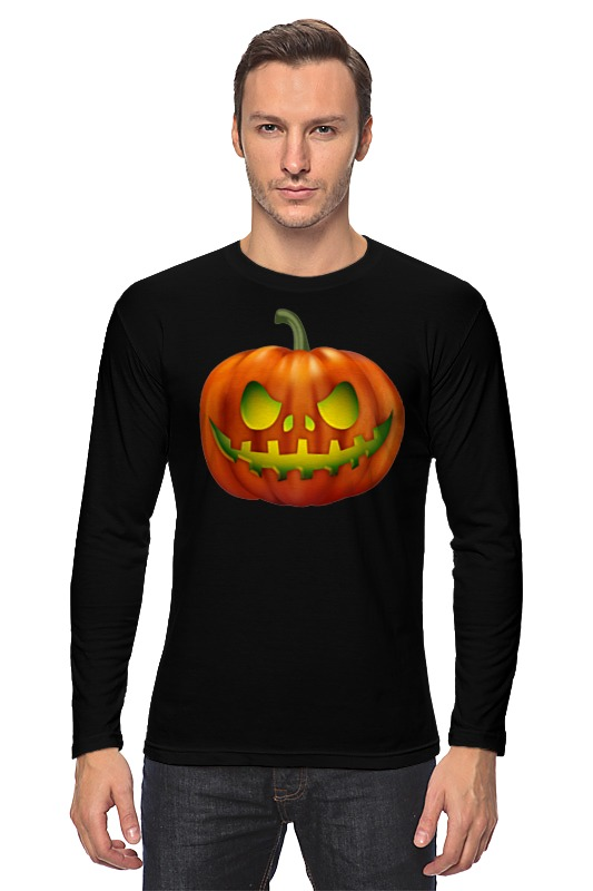 Лонгслив Printio Glowing pumpkin plus size pumpkin halloween ripped sweater