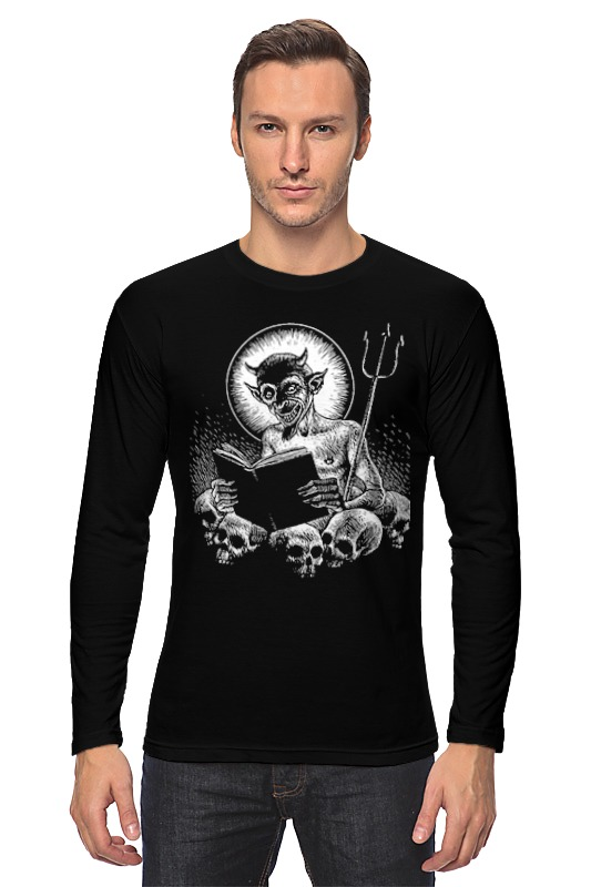 Лонгслив Printio Devil punk style devil skull pendant necklace