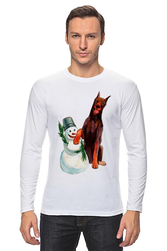 Лонгслив Printio Забавная акварельная собака, символ 2018 года футболка классическая printio акварельная новогодняя забавная собака
