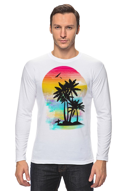 где купить Лонгслив Printio Cолнечный пляж дешево
