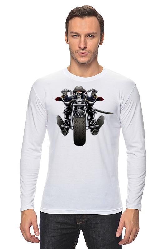 Лонгслив Printio Скелетон на мотоцикле