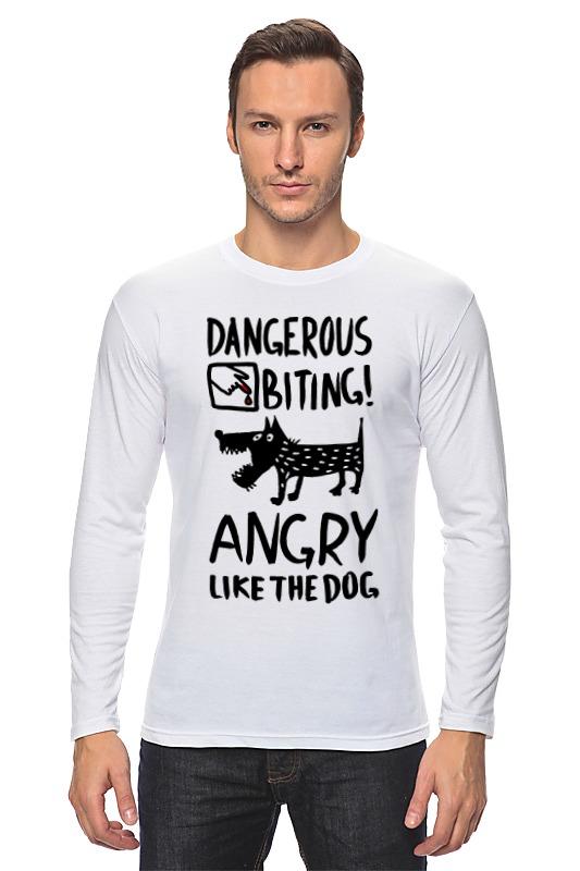 Лонгслив Printio Статус: злой, как собака! табличка на стол осторожно злой продавец не беспокоить 816428