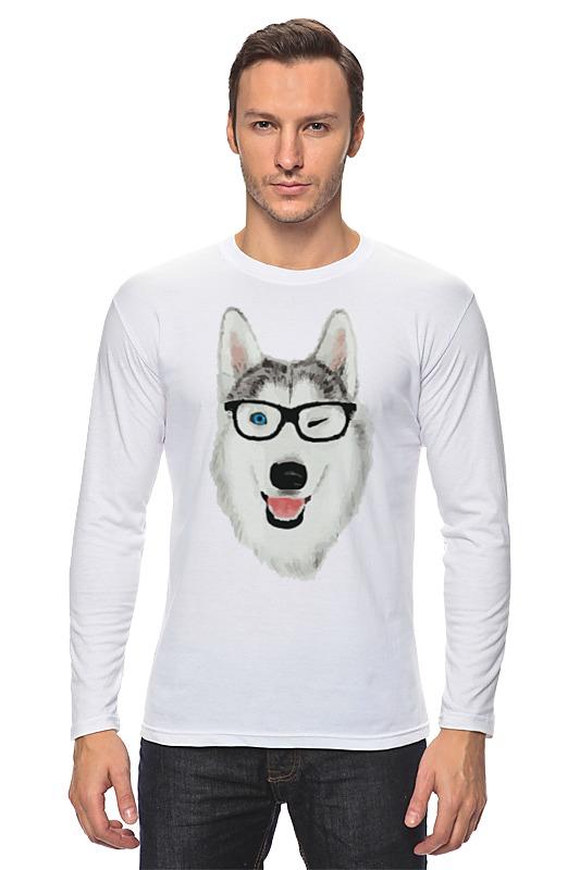 Лонгслив Printio Хаски в очках щенков хаски в балашихе
