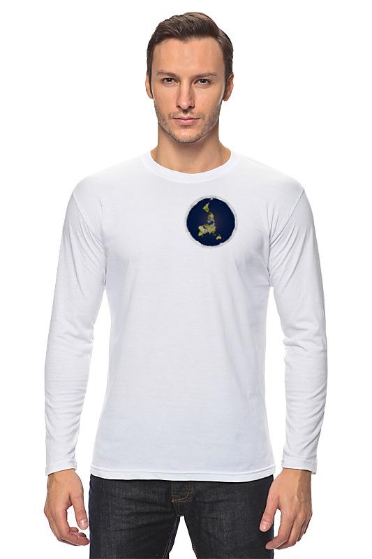 Лонгслив Printio плоская земля (женская, белая) футболка классическая printio плоская земля женская белая