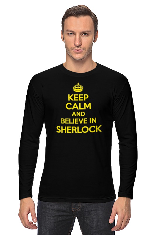 Лонгслив Printio Keep calm and believe in sherlock holmes цены онлайн