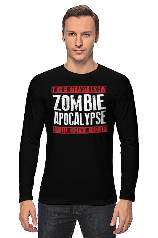 Лонгслив Printio Zombie apocalypse dead inside do not enter notes from the zombie apocalypse