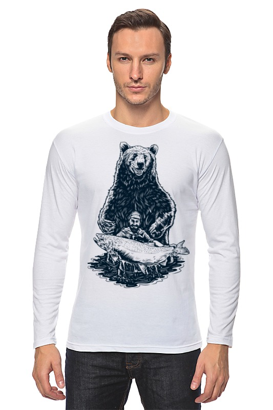 Лонгслив Printio Медвежья рыбалка цена и фото