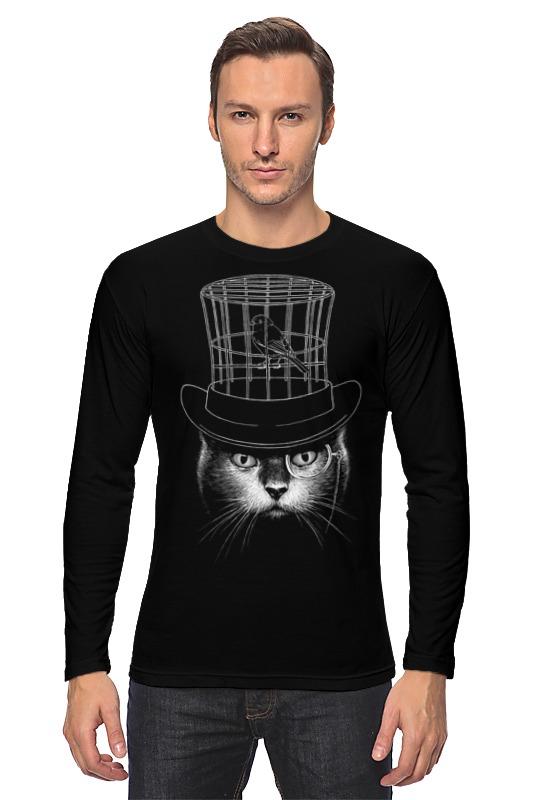 Лонгслив Printio Кот в цилиндре кот в мешке время играть