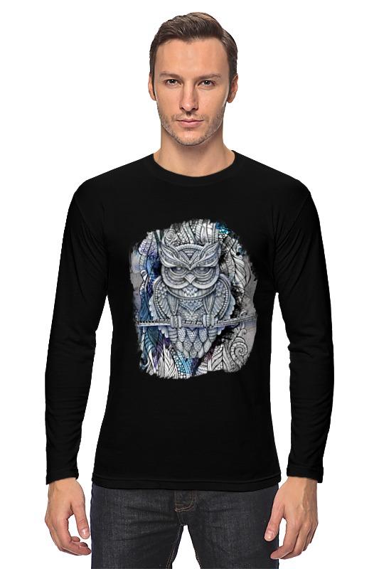 Лонгслив Printio Doodle owl fringed plaid doodle scarf