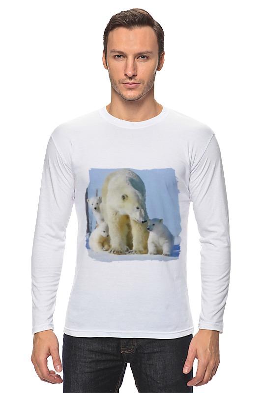 Лонгслив Printio Белая медведица с медвежатами цена