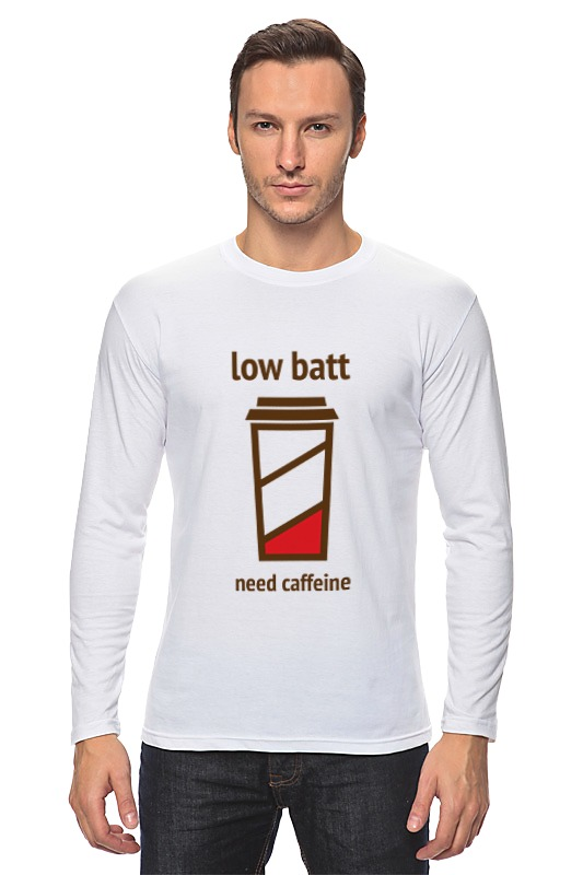 Лонгслив Printio Low batt need caffeine футболка классическая printio low batt need caffeine