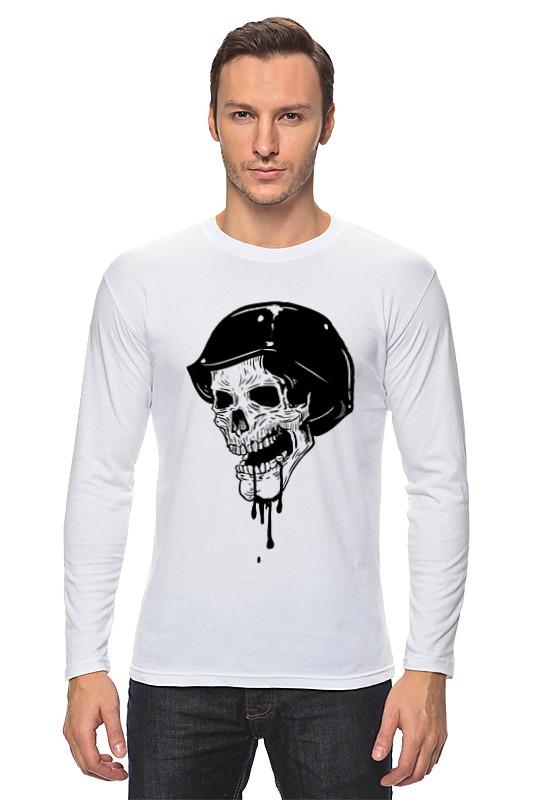 Лонгслив Printio Skull эмблемы шильдик в стразах дром