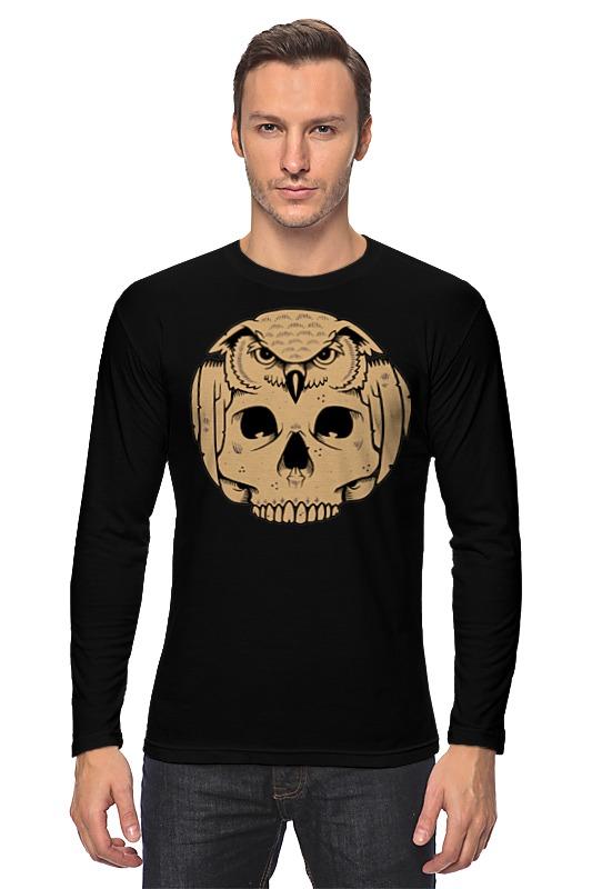 Лонгслив Printio Owl scull / сова с черепом цена