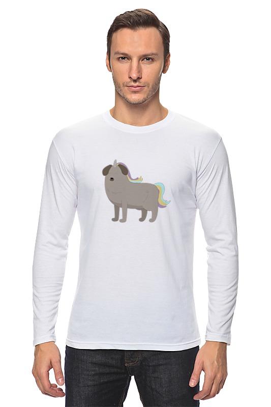 Лонгслив Printio Пёс - единорог лагунов к я белый пёс синий хвост