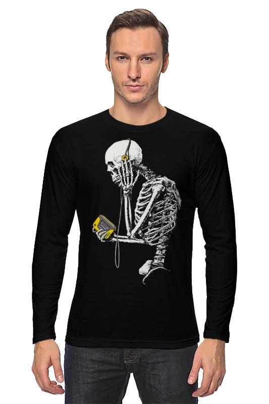 Лонгслив Printio Скелет с плеером лонгслив printio скелет с цветочками