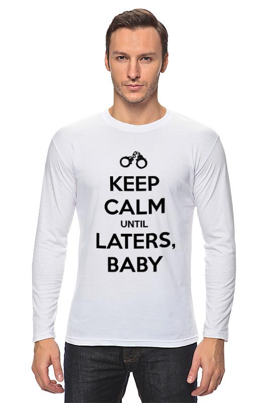 Лонгслив Printio Keep calm until laters, baby (50 оттенков серого) футболка для беременных printio keep calm until laters baby 50 оттенков серого