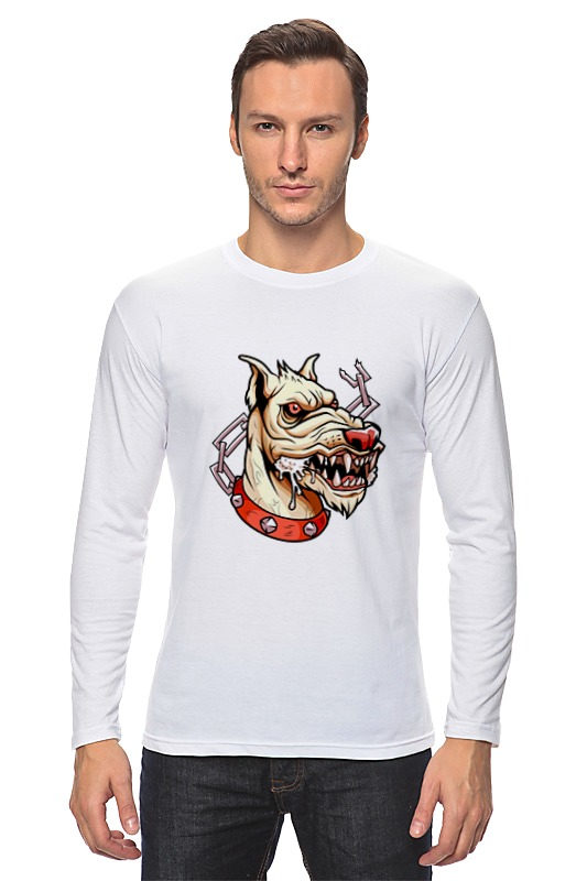 Лонгслив Printio Злой пёс лагунов к я белый пёс синий хвост