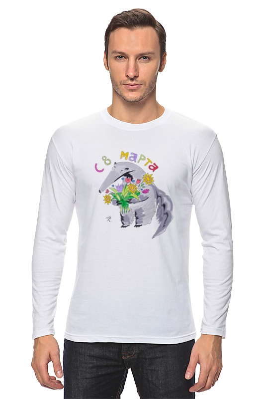 Лонгслив Printio Праздничный муравьед футболка классическая printio муравьед с цветами