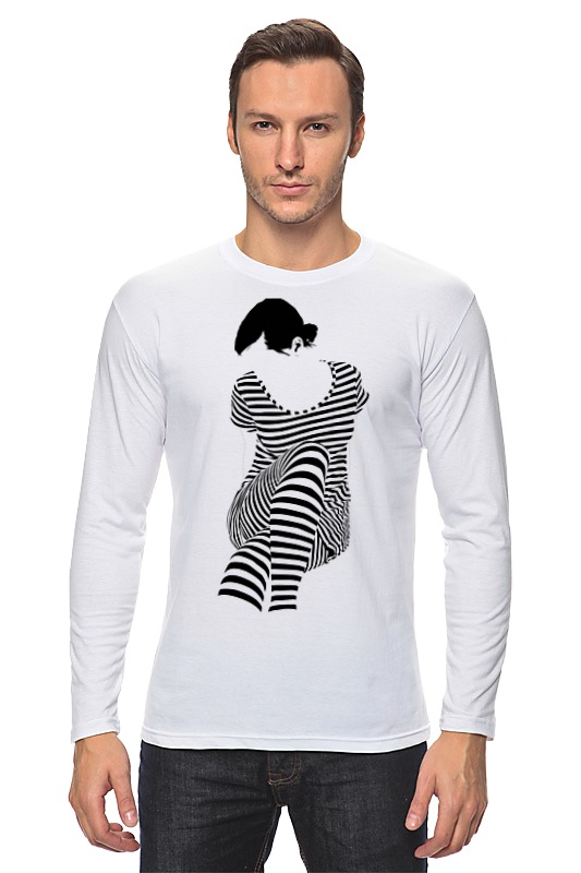 Лонгслив Printio Белая,стильная,с рисунком,чайки,полосатая девушка
