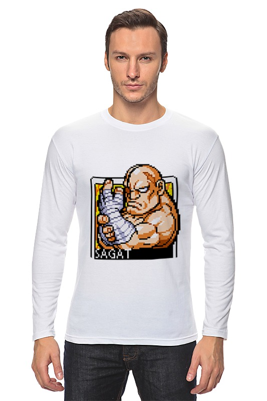Лонгслив Printio Street fighter sagat hoodie drop shoulder print hoodie dress