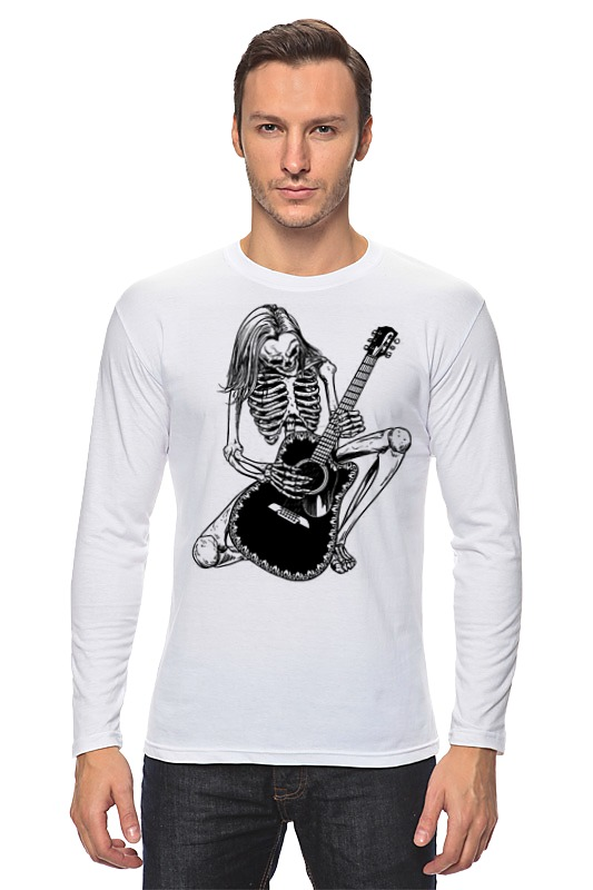 Лонгслив Printio Скелет с гитарой лонгслив printio скелет с цветочками