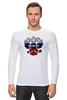 """Лонгслив """"Россия триколор"""" - россия, герб, флаг, горжусь, вперёд"""