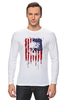 "Лонгслив ""Американский череп"" - skull, череп, америка, usa, флаг"