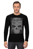 "Лонгслив ""grunge skull"" - skull, череп, hand-made"