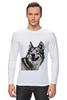 """Лонгслив """"Добродушный волк"""" - хищник, animal, волк, wolf"""