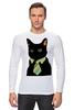 """Лонгслив """"Деловой кот"""" - кот, мем, cat, mem, black cat, деловой кот, business cat, suit n tie"""