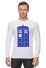 """Лонгслив """"Tardis (Тардис)"""" - сериал, doctor who, tardis, доктор кто, машина времени, телефонная будка, time machine, police box, phone box, полицейская будка"""