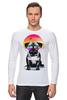 """Лонгслив """"Солнечный Мопс"""" - pug, солнце, собака, мопс"""