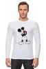 """Лонгслив """"Mickey Mouse Bloody Eyes On White"""" - боль, смех, юмор, приколы, глаз, мультики, глаза, mouse, микки, анимация"""