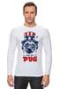 """Лонгслив """"Мопс Президент (Obey pug)"""" - pug, obey, мопс, obey the pug, мопс президент"""