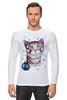 """Лонгслив """"Котик в снежинках."""" - новый год, зима, снег, котик, снежинки"""