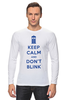 "Лонгслив ""Keep Calm and Don't Blink (Tardis)"" - сериал, doctor who, tardis, доктор кто, машина времени"