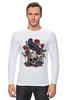 "Лонгслив ""Череп и ворон"" - skull, арт, авторские майки, black, red, tattoo, тату, розы, raven, roses"