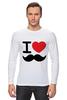 "Лонгслив ""I love усы"" - swag, усы, mustache, лов, i love mustache"