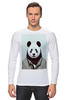 """Лонгслив """"Деловая панда"""" - медведь, мишка, панда, panda, крутая"""