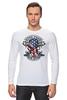 "Лонгслив ""Skull Art"" - skull, череп, usa, американский флаг, american flag"