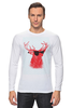"Лонгслив ""Deer"" - cool, red, олень, хипстер, shades, deer"